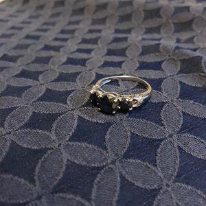 Dark blue sapphire gemstone ring 10k